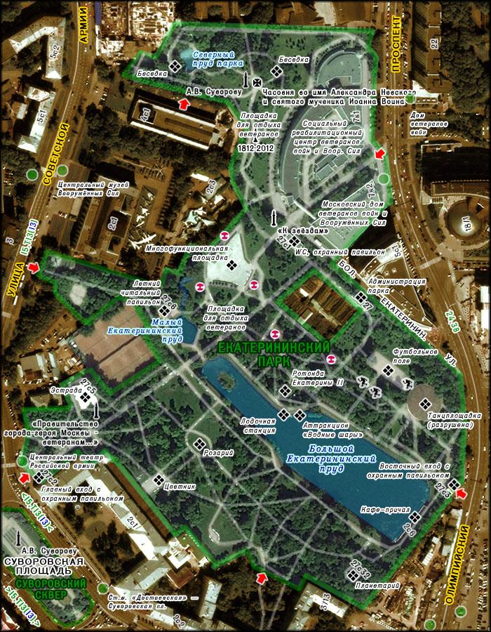"""Центральный административный округ, муниципальный район  """"Мещанский """".  Схема парка на основе аэрофотосъёмки."""