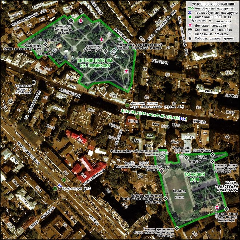 Схема парка на основе аэрофотосъёмки.  Таганский парк площадью около 3 га находится между застройкой Таганской...